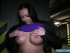 Public Maya with big tits gets fucked in a car par