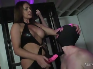 Mistress Carly spit roasts gimp after cock suck contest