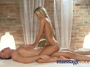 Massage Rooms Petite blonde sucks and fucks big cock