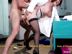Busty brunette MILF Krissy Lynn has fun in the hospital