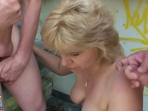 Naughty granny's double cumming