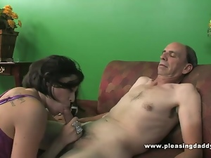 Brunette With Small Tits Fuck A Grandfather