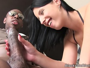 White girl deals with a huge black dick