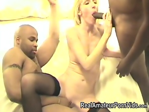 White housewife creampied by black men