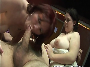 Amateur milfs gangbanged in a swingers club
