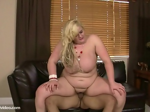 Blonde Teen BBW Sucks and Fucks BF at Dinner Table