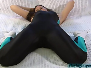 Stretching her hot body in spandex