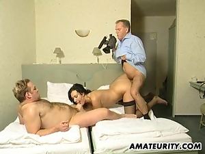 Amateur Milf in a threesome with double cumshots