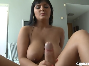 Busty Jasmine Black stroking a big Dick