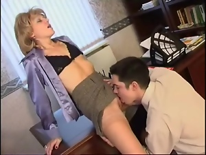 Mature secretary gets crammed in her office
