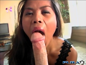 Asian delivers POV face fucking