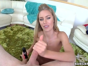Nicole Aniston tosses off this hard throbbing cock