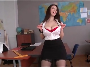 Curvy teacher in slutty outfit does a striptease