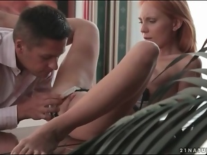 Erotic foreplay and sex with young redhead