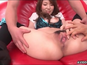 Pretty girl finger fucked in slippery pussy
