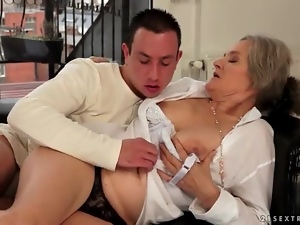 Kissing grandma and sucking her titties