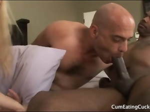 Cuckold sucks black cock fresh from his lady