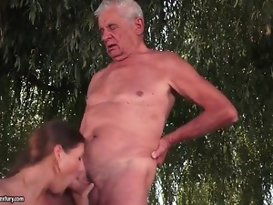 Two grandpas fuck young slut outdoors