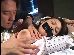 Girl tied down and licked by her master