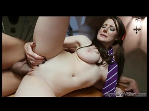 Brunette in long pigtails fucked in bald box