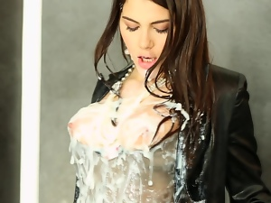 Valentina Nappi covered with bukkake at gloryhole