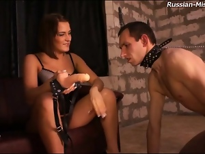 Slave eats out the asshole of mistress
