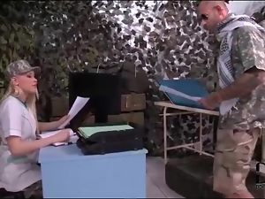 Soldier gets handjob from hot blonde girl