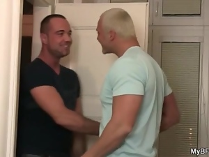 Muscular blonde bear gets his dick sucked