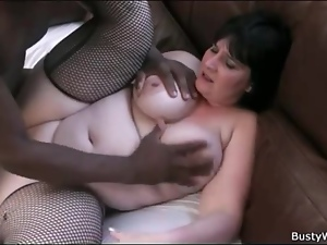 Fishnets look sexy on BBW taking dick
