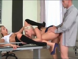 Secretary sluts in ass to mouth threesome