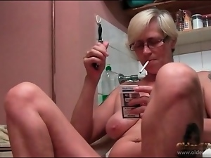 Foot fetish play and old lady smoking