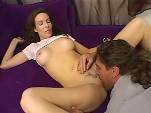 Milf in ruffled skirt sucks the repair guy