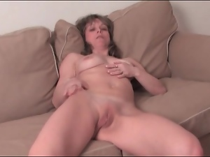 Fit mature strips quick and masturbates