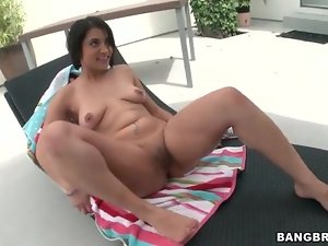 Slutty brunette lubes her pussy and toy fucks