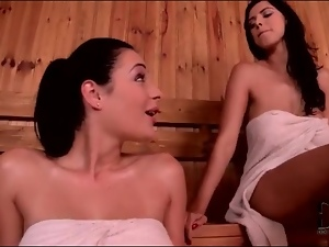 Sweaty sluts in the sauna fool around