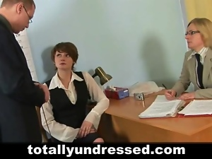Shy secretary during dirty job interview