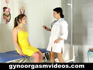 Gynecologist helps her patient with an orgasm