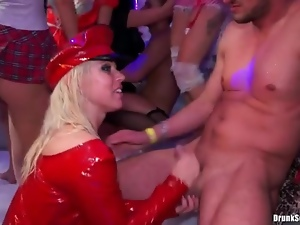 Horny bitches in costumes get into fucking