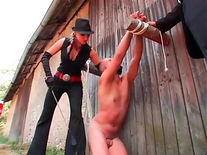 Naked man humiliated outdoors by femdom mistress