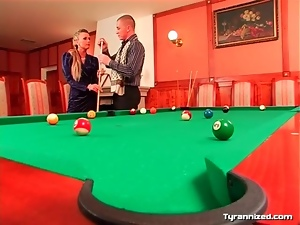 Couple plays pool and gets frisky for fun