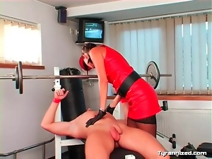 Facesitting mistress in sexy outfit
