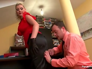 Hot curvy girl in work clothes fucked hardcore