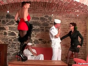Lucky sailors lick sexy ladies all over