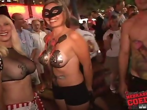 Costume girls get wild on the streets