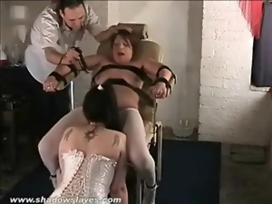 Bound girl eaten out as titties are tortured