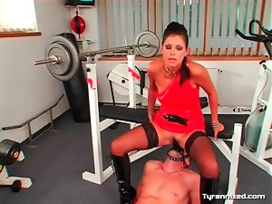 She rides his face strapon in sexy femdom video