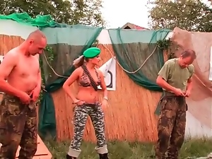 Mistress makes military men work out and get naked