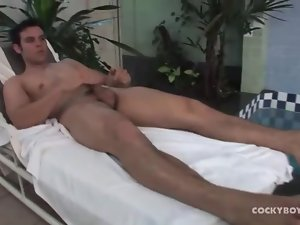Solo guy showers and plays with his hard cock