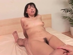Cumshots on her face and in her Japanese cunt