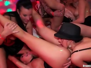 Club slut jerks off a black cock and rides it